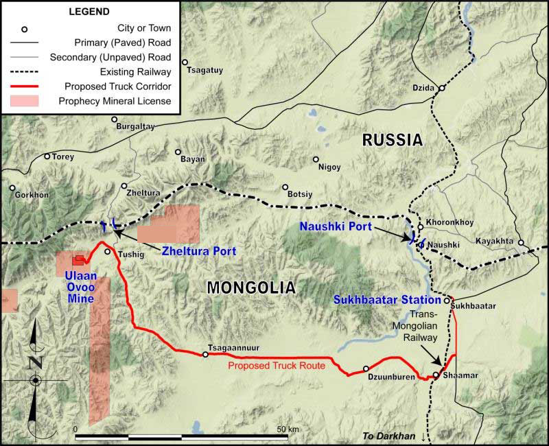 Prophecy Coal Announces Approval for the General Development of the Mongolian-Russian Zeltura Border Port